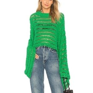 NWT Free People Green Caught Up Crochet Sweater